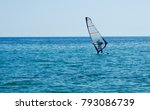 one man on  small sailboat on... | Shutterstock . vector #793086739