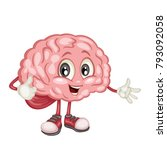 cute cartoon brain character... | Shutterstock .eps vector #793092058