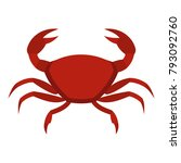 red crab icon flat isolated on... | Shutterstock .eps vector #793092760