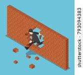flat 3d isometric businessman... | Shutterstock .eps vector #793094383
