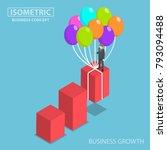 flat 3d isometric businessman...   Shutterstock .eps vector #793094488