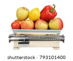 old weight with fruits and... | Shutterstock . vector #793101400