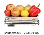 old weight with fruits and... | Shutterstock . vector #793101403