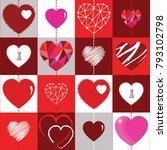 happy valentines day background ... | Shutterstock .eps vector #793102798