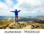 happy man gesture of triumph... | Shutterstock . vector #793103110