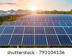 photovoltaic cells under blue...   Shutterstock . vector #793104136