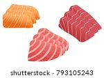 tuna and salmon sashimi vector | Shutterstock .eps vector #793105243