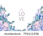 cute watercolor design with... | Shutterstock . vector #793111558