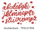 tomato ketchup font set with... | Shutterstock .eps vector #793117396