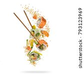 Flying Pieces Sushi Wooden Chopsticks - Fine Art prints