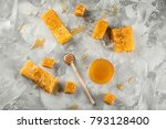 composition with sweet honey ... | Shutterstock . vector #793128400