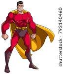smiling superhero standing tall ... | Shutterstock .eps vector #793140460