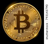 bitcoin isolated on black ... | Shutterstock .eps vector #793143790