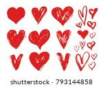 set of red grunge hearts.... | Shutterstock .eps vector #793144858