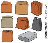 vector set of paper bags | Shutterstock .eps vector #793144864