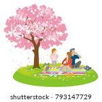 family picnic in spring nature  ... | Shutterstock .eps vector #793147729