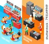 set of two food court vertical... | Shutterstock . vector #793149949