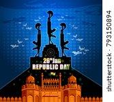 flag hositing on indian... | Shutterstock .eps vector #793150894
