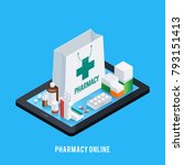 online pharmacy conceptual... | Shutterstock . vector #793151413