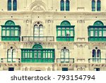 building with traditional... | Shutterstock . vector #793154794