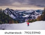 a man in red at the top of a... | Shutterstock . vector #793155940