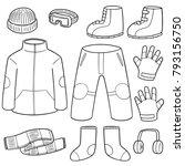 vector set of winter clothes | Shutterstock .eps vector #793156750