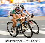 ARLINGTON, VIRGINIA - JUNE 11: Unidentified cyclists compete in the U.S. Air Force Cycling Classic on June 11, 2011 in Arlington, Virginia - stock photo