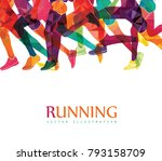 running marathon  people run ... | Shutterstock .eps vector #793158709