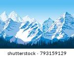 seamless vector blue beautiful... | Shutterstock .eps vector #793159129