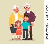 grandparents with grandchildren.... | Shutterstock .eps vector #793159924