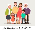 Stock vector happy family father mother grandmother grandfather and children with a pet vector illustration 793160203