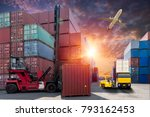 forklift handling container box ... | Shutterstock . vector #793162453