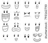 vector set of cartoon face | Shutterstock .eps vector #793162750