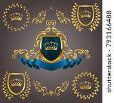 set of golden royal shields | Shutterstock .eps vector #793166488