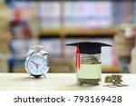 graduation hat on the glass... | Shutterstock . vector #793169428