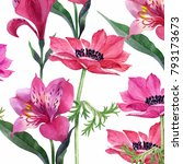floral set  anemones and lilies ... | Shutterstock . vector #793173673