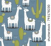 lamas  cactuses  hand drawn... | Shutterstock .eps vector #793178230