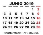 june month in a year 2019 wall... | Shutterstock .eps vector #793182856