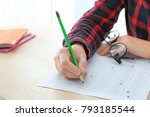 student choosing answers in... | Shutterstock . vector #793185544