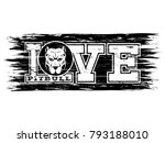 inscription love pitbull with... | Shutterstock .eps vector #793188010