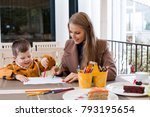 mom with boy draw colored... | Shutterstock . vector #793195654