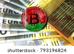 a close up of bitcoin against... | Shutterstock . vector #793196824