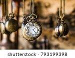 vintage pocket watchs hanged... | Shutterstock . vector #793199398