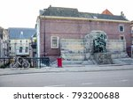 Small photo of DORDRECHT, NETHERLANDS - OCTOBER, 17 2014: monument Brothers Johan and Cornelis de Witt, both politicians, both lynched by a mob on August 20, 1672 South Netherlands.
