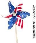 Patriotic Red White and Blie Pinwheel with Stars and Stripes of USA Isolated on White. - stock photo