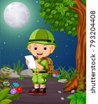 a adventurer under the bright... | Shutterstock .eps vector #793204408