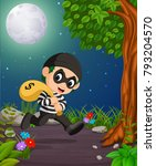 a thief under the bright... | Shutterstock .eps vector #793204570