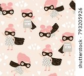 seamless childish pattern with... | Shutterstock .eps vector #793205926
