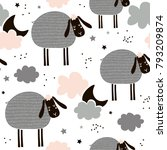 childish seamless pattern with... | Shutterstock .eps vector #793209874