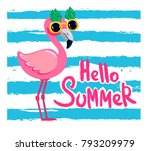cute flamingo with glasses on a ... | Shutterstock .eps vector #793209979